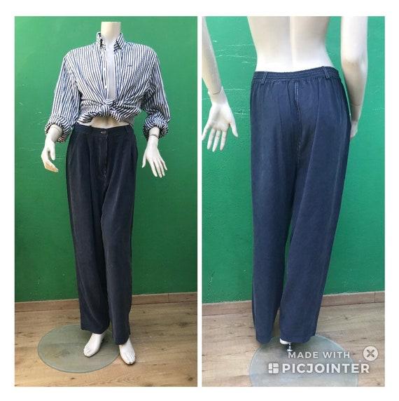 BLUE SILK TROUSERS Fashion Silk pants  High waist