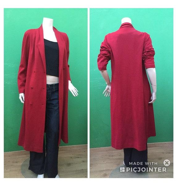 WOOL FASHION COAT Long red wool coat 70s overcoat