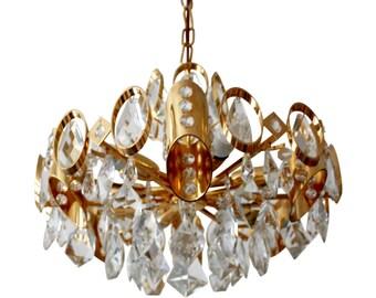 Gorgeous Sciolari Midcentury Guilded Brass Chandelier