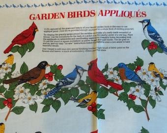"""Garden Birds Applique Fabric Panel - 35-1/2"""" X 45"""""""