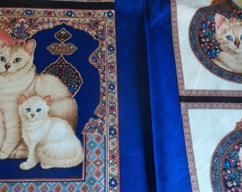 """Catkin & Her Kittens Pillows or Quilt Fabric Panel - 24"""" X 44"""""""