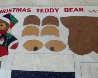 Christmas Teddy Bear Fabric Panel