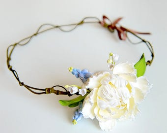 Rustic  floral crown Bridal flower crown Weadding headpiece Crown Bridal hedpieces Floral hair wreath