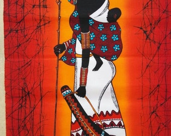 Wandbehang Batik, Handgefertigte Batik, Rot Maasai Batik, Afrikanische  Kunst Batik, Kenia Batik, Massai Wand Dekor, Bürodekor, Wohnzimmer Dekor