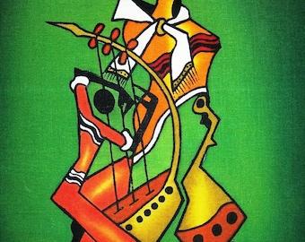 Masai Musiker Tänzer Grün Wachs Batik, Afrikanische Kunst Batik, Kenia  Kunst Batik, Wohnkultur, Wandbehang, Bürodekor, Wohnzimmer Dekor,
