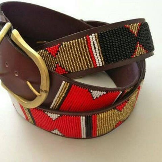 Leather beaded belt, Beaded belt, Handmade belt, Leather belt, Brass buckle belt, Gift for him, Boho belt, African belt,