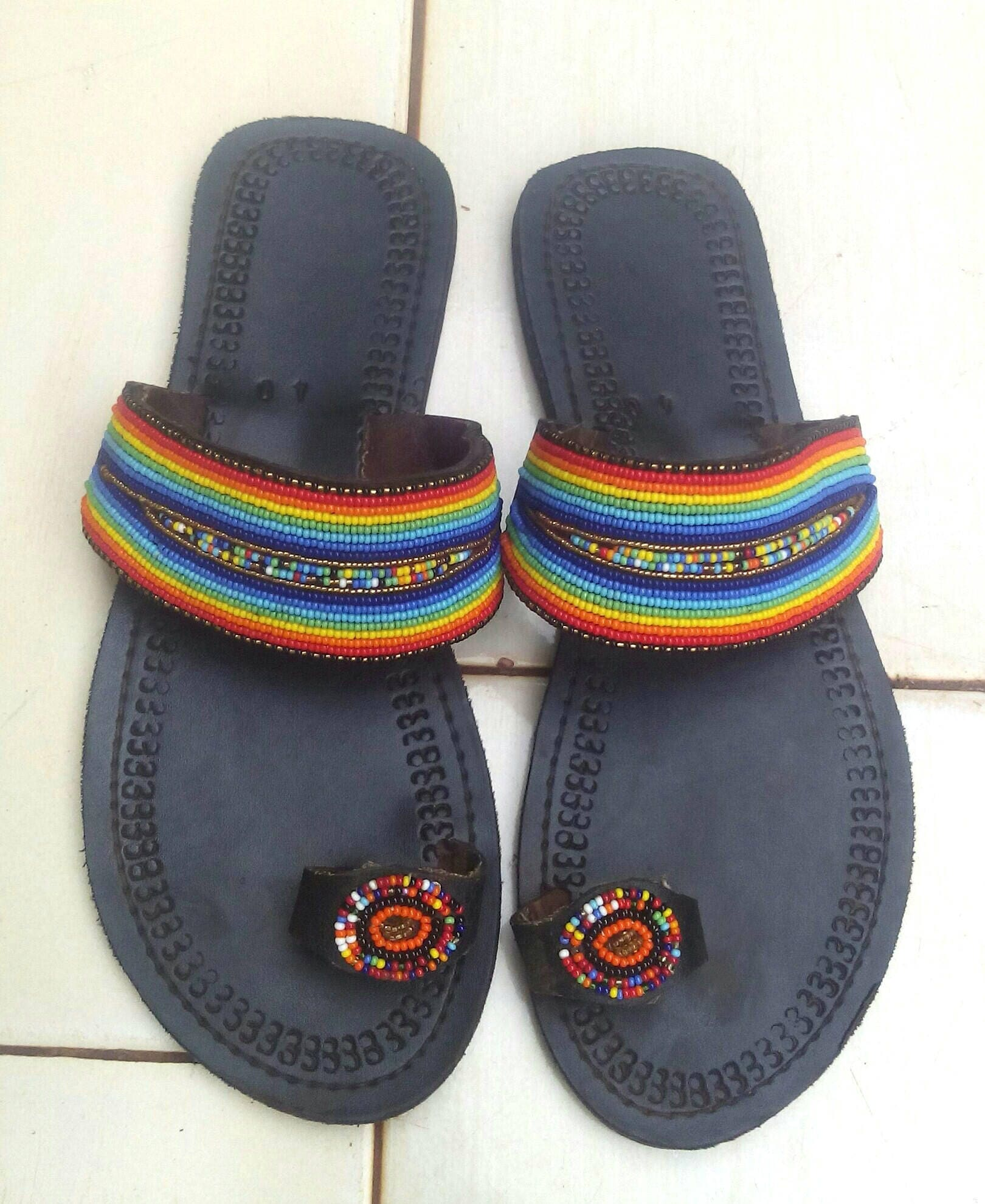 cf11a4e72 Rainbow beaded sandals Leather beaded sandals Kenyan
