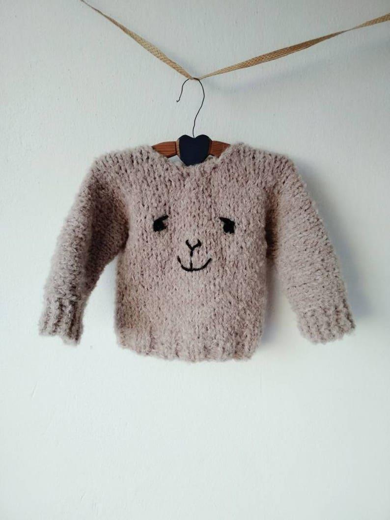 41aaea52d Baby sweater girls chunky beige brown alpaca soft hand