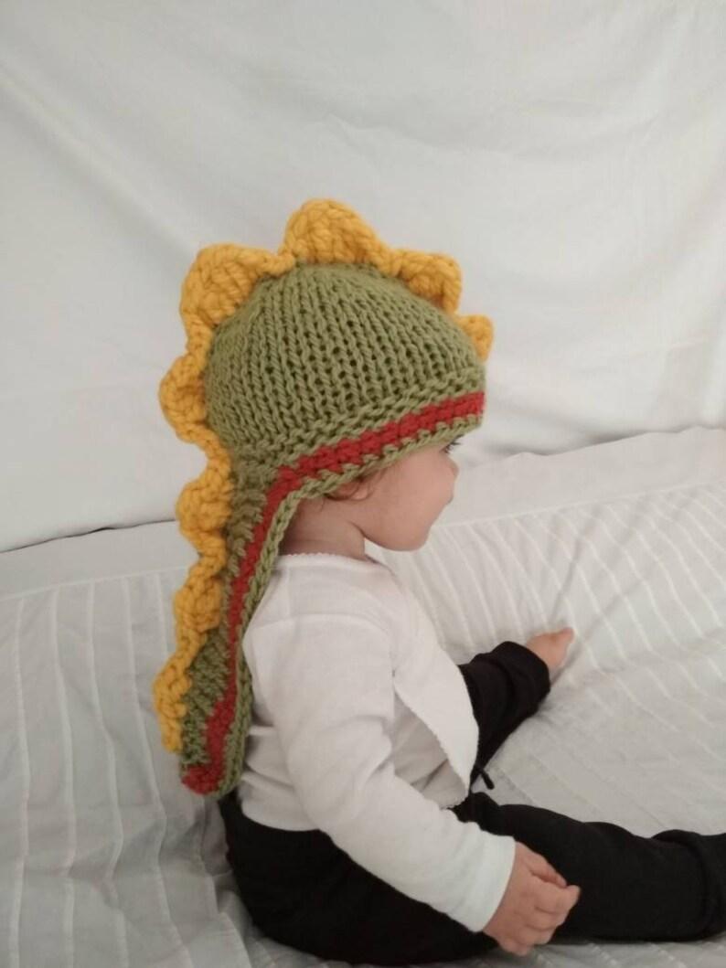85a62463e6f Dinosaur hat knit alpaca dinosaur hat orange yellow and
