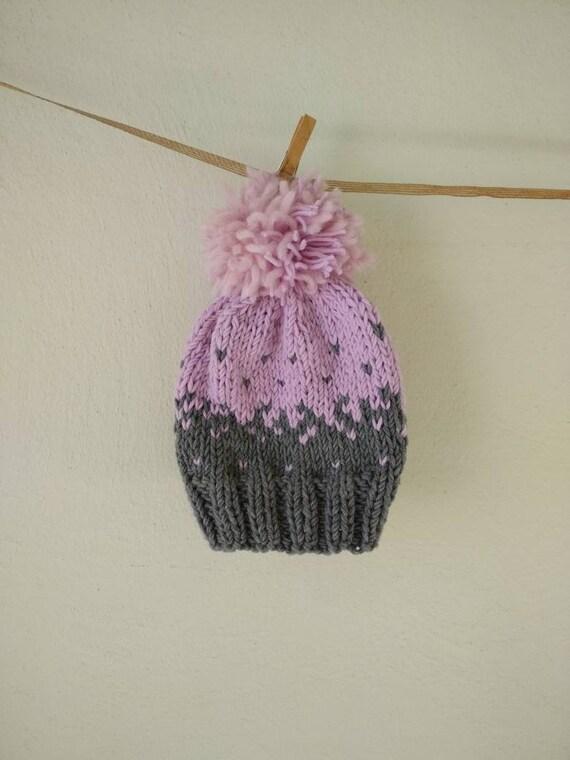 b040248e0c7 Giant Pom pom hat cupcake beanie chunky baby hat pink gray