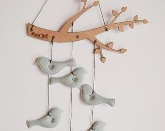 Tree branch bird mobile