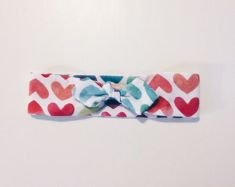 Headband for baby girl and little girl - jersey watercolor hearts