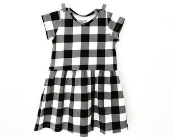 Gingham dress for baby and girls -  black and white toddler dress - Modern dress 0-7 T