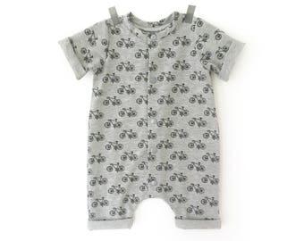 Bike short romper -  summer romper - unisex romper - baby boy take home outfit