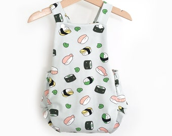 Summer - jersey sushi, criss-cross back romper