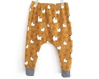 LAMA baby and toddler harem pants - Mustard baby harem - cute baby clothes -