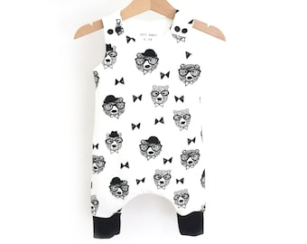 Jumpsuit harem bear for baby and child - Oeko Tex jersey - black and white - short or long Version
