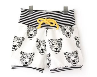 GUEPARD baby and toddler shorts with stripped ribknit, hipster shorts - Cuffed shorts- 0-6 T