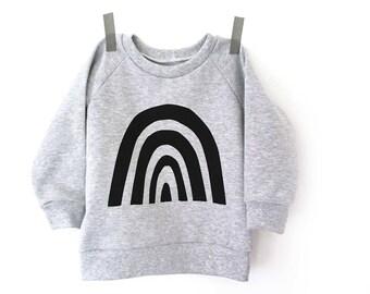 Black rainbow sweatshirt - baby sweatshirt - toddler sweatshirt - modern sweatshirt - handprinted clothes  - Print screen sweatshirt