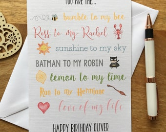 Personalised Birthday Anniversary Card Boyfriend Girlfriend Cute Husband Wife Fiance