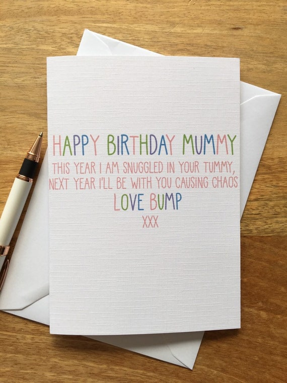 Personalised Birthday Card Parent Mum Mummy Son Daughter From The Bump Pregnant Cute