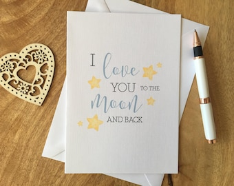 Personalised Birthday Anniversary Card I love you to the moon and back Boyfriend Girlfriend