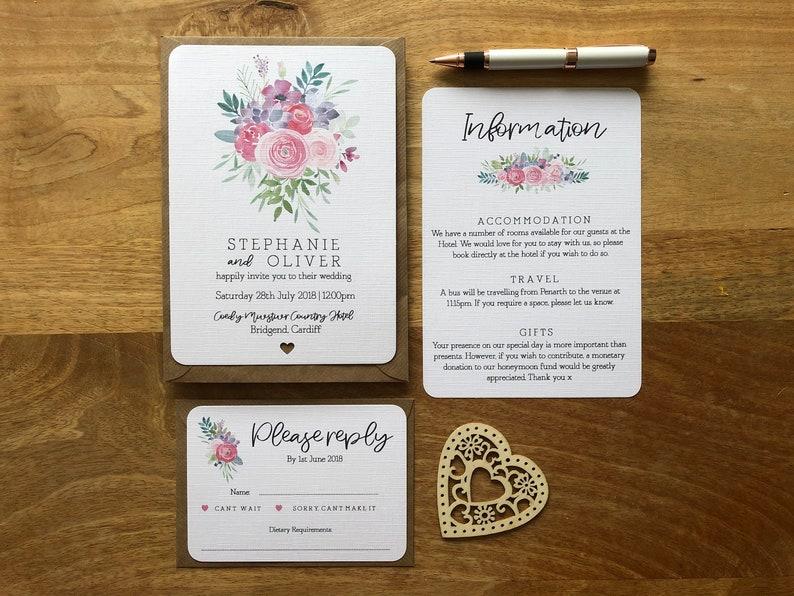 Wedding Invitations Personalised Evening Rsvp Bright Etsy