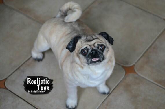 Realistic Pug Stuffed Animal, Dog Pug Sharlie Soft Sculpture Realistic Stuffed Etsy