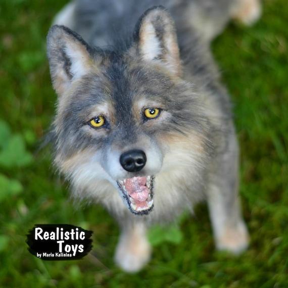 Realistic Plush Wolf Pet Portrait Plush Natural Size Etsy