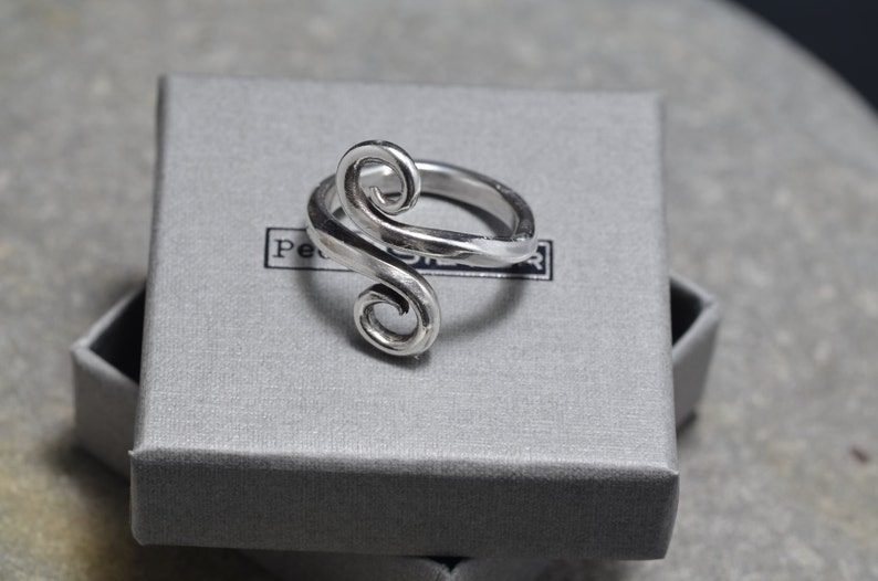Infinity Swirl Ring hand forged ring asymmetrical ring adjustable ring