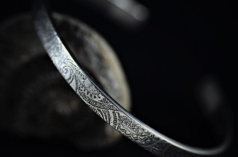 mens silver bangle womens bangle Paisley Cuff Bangle psychedelic design personalised bracelet open bangle