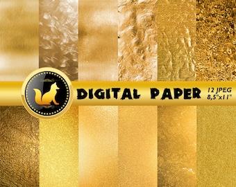 Gold Digital Paper,Crumpled Gold Scrapbook Paper,Gold Background,Gold Backdrop,digital paper,Blur Background,scrapbooking paper,crumped art