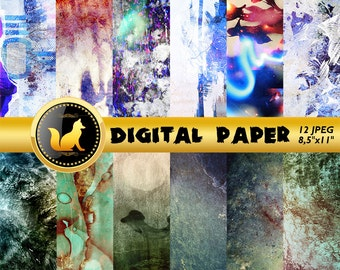 Rainbow Abstract,Rainbow Abstract Backdrop,Abstract Paper,Abstract Scrapbook Paper,digital paper,Rainbow Background,Chipped paint texture