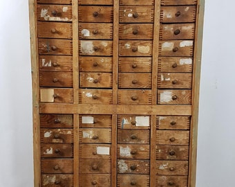 Retro Wood Drawer Cabinet Antique Library Vintage Card Drawer Catalog