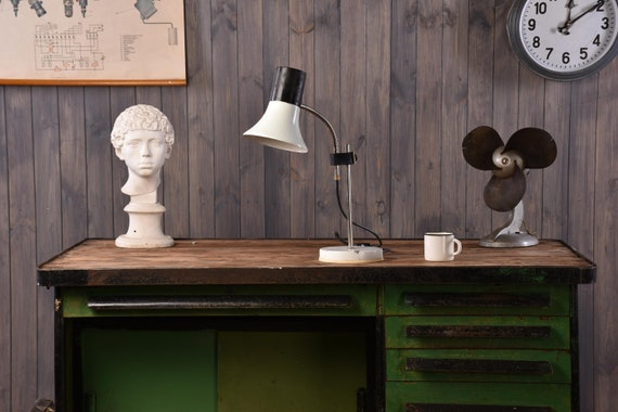 Metal desk lamps, industrial white black table lamp, retro lighting, office reading, adjustable student task lamp, modern