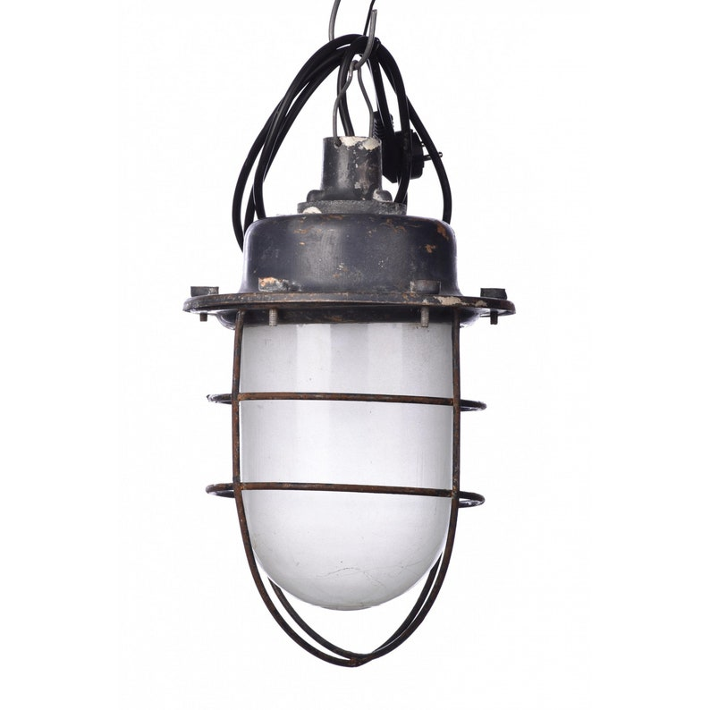 vintage lamp with cage hanging retro light old factory light metal glass Industrial ceiling pendant loft industrial decor