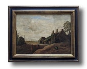 Original painting, Oil painting, Wood antique from France, Farmhouse decor, Landscape