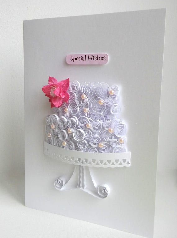 Wedding Cake Card Birthday Cake Card Paper Cake Card Cake Etsy