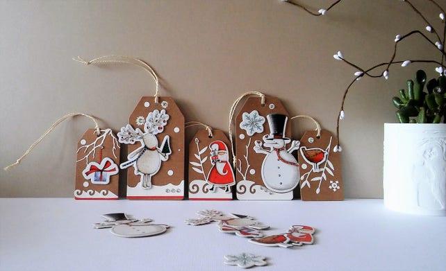 Weihnachten Geschenkanhänger Set 5 handgemachte Weihnachten | Etsy