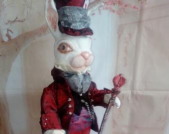 White rabbit, ooak art doll,Free Shipping, Alice in Wonderland,
