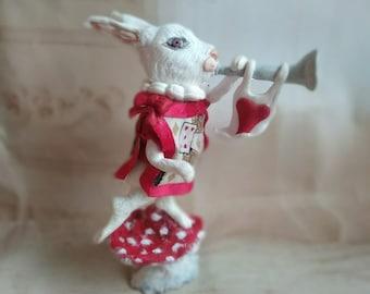 White rabbit sculpture, Alice in Wonderland, ooak figure