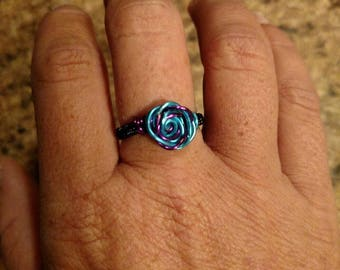 Two tone copper rose ring