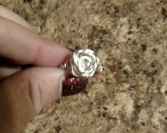 Silver plated copper rose ring