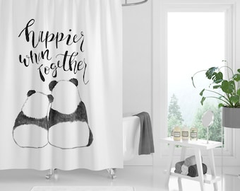happier when together panda shower curtain black and white shower curtain gift for couple gift for newlyweds cute shower curtain panda lover - Cute Shower Curtains