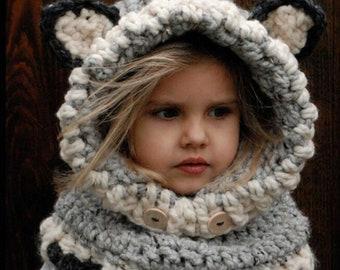 7974b0ee55a Beanie with bear ears Cute animal eared beanie scarf knitted warm hood  winter kids hoodie cute gift for kids childrens beanie hat head cover