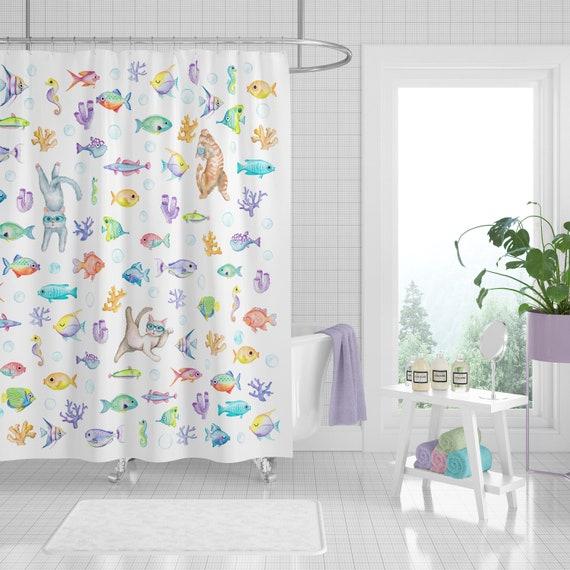 Cat And Fish Aquarium Shower Curtain Watercolor Original