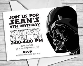 graphic relating to Star Wars Invitations Printable named Darth vader invitations Etsy