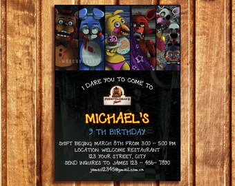 Five Nights At Freddys Birthday Party Invitation Thank You Card