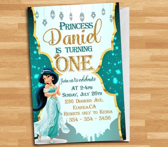 Princess Jasmine Invitation Disney Jasmine Invite Princess Jasmine Birthday Invitation Princess Jasmine Thank You Card Mja 4