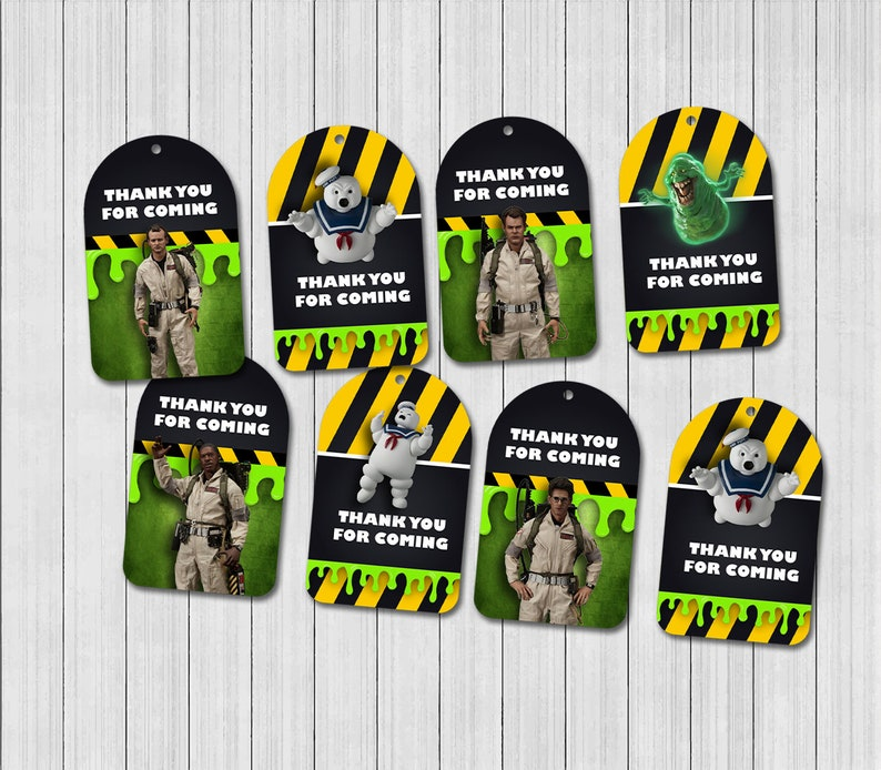 5 x Personalised GHOSTBUSTERS Party Bag tags PARTY BAG LABELS GIFT TAGS